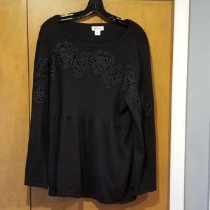 Style & Co black babydoll sweater